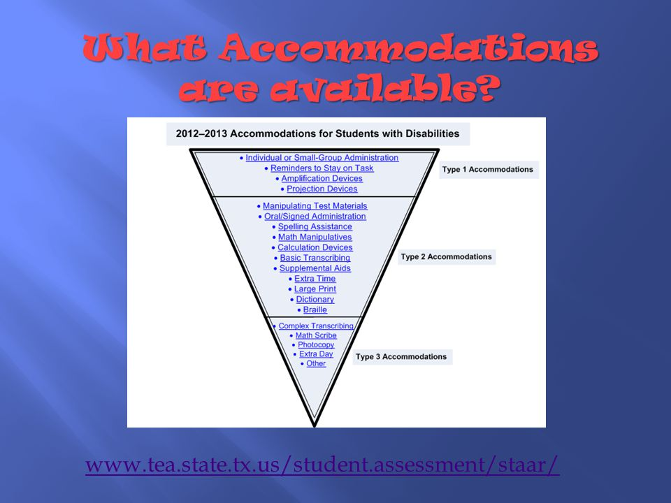 What Accommodations are available www.tea.state.tx.us/student.assessment/staar/