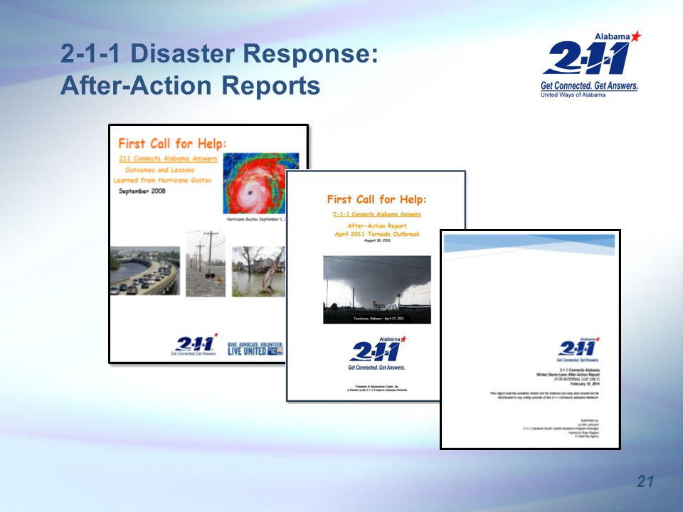 21 2-1-1 Disaster Response: After-Action Reports