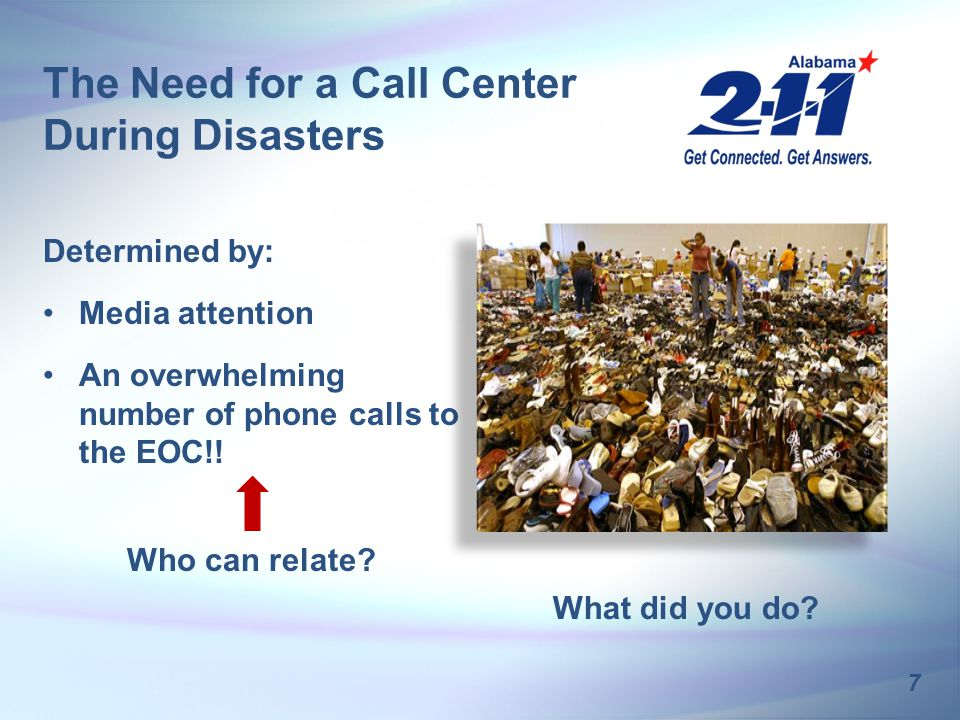 The Need for a Call Center During Disasters Determined by: Media attention An overwhelming number of phone calls to the EOC!.