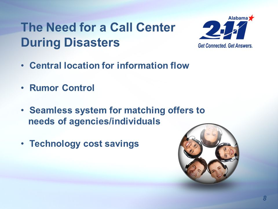 Central location for information flow Rumor Control Seamless system for matching offers to needs of agencies/individuals Technology cost savings 8 The Need for a Call Center During Disasters