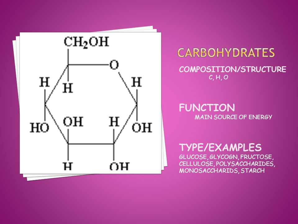 COMPOSITION/STRUCTURE C, H, O FUNCTION MAIN SOURCE OF ENERGY TYPE/EXAMPLES GLUCOSE, GLYCOGN, FRUCTOSE, CELLULOSE, POLYSACCHARIDES, MONOSACCHARIDS, STARCH