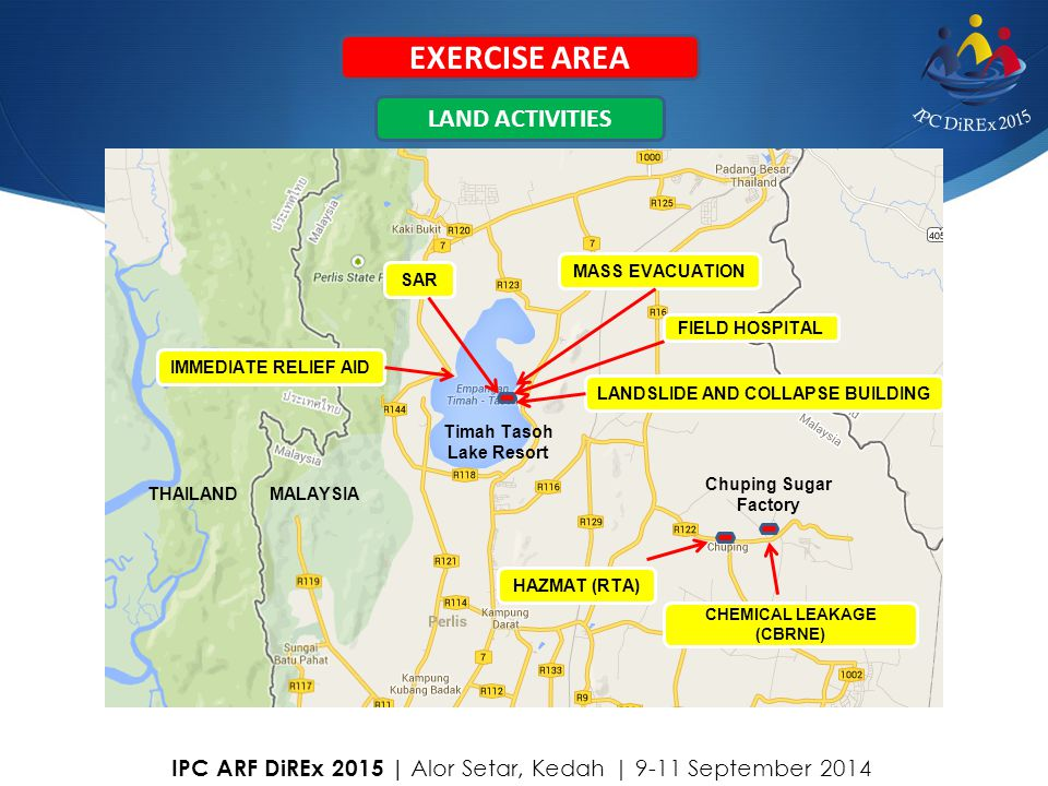EXERCISE AREA Chuping Sugar Factory Timah Tasoh Lake Resort MALAYSIATHAILAND LANDSLIDE AND COLLAPSE BUILDING MASS EVACUATION SAR IMMEDIATE RELIEF AID