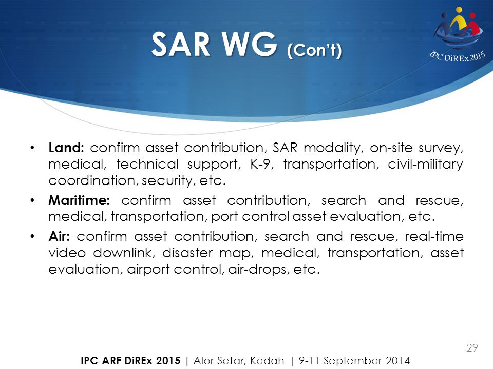 29 SAR WG (Con't) Land: confirm asset contribution, SAR modality, on-site survey, medical, technical support, K-9, transportation, civil-military coor