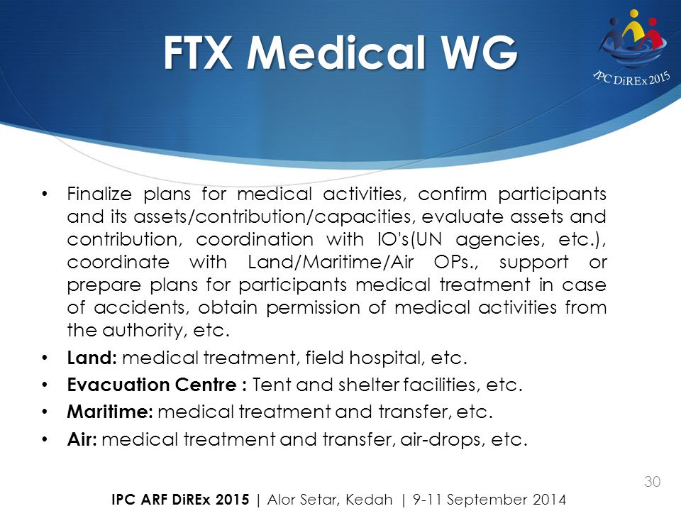 30 FTX Medical WG Finalize plans for medical activities, confirm participants and its assets/contribution/capacities, evaluate assets and contribution