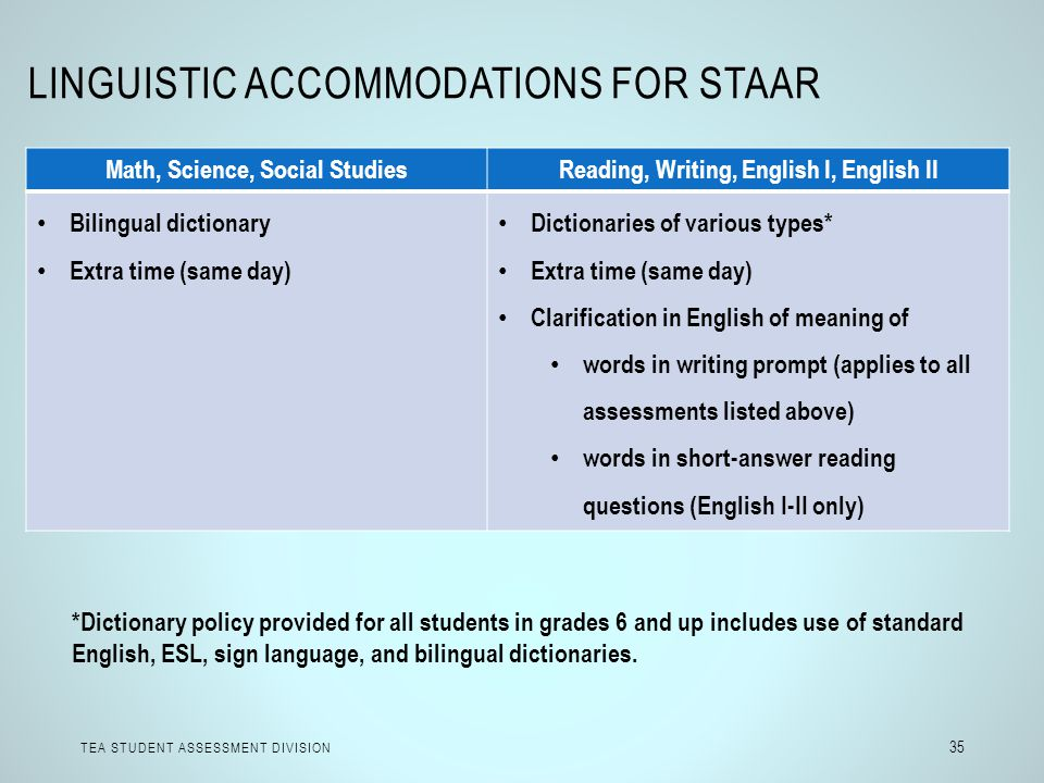 LINGUISTIC ACCOMMODATIONS FOR STAAR TEA STUDENT ASSESSMENT DIVISION 35 Math, Science, Social StudiesReading, Writing, English I, English II Bilingual