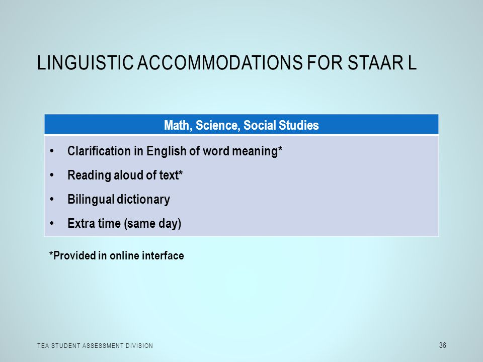 LINGUISTIC ACCOMMODATIONS FOR STAAR L TEA STUDENT ASSESSMENT DIVISION 36 Math, Science, Social Studies Clarification in English of word meaning* Readi