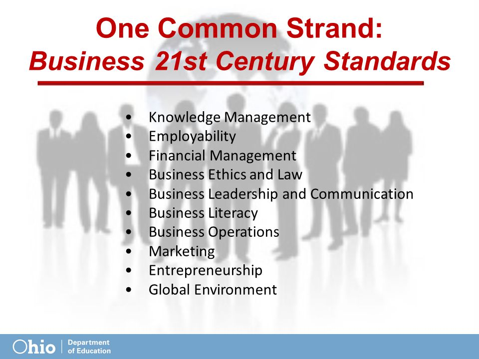 One Common Strand: Business 21st Century Standards Knowledge Management Employability Financial Management Business Ethics and Law Business Leadership