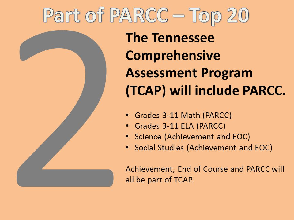 2 The Tennessee Comprehensive Assessment Program (TCAP) will include PARCC.