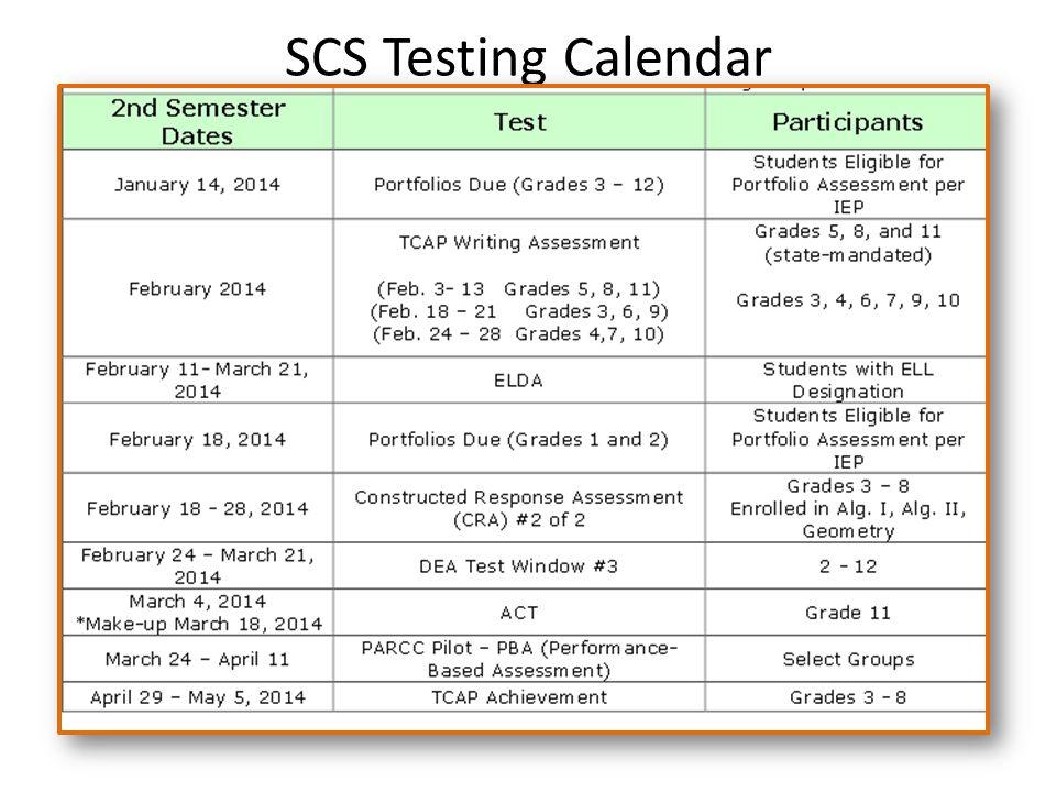 SCS Testing Calendar