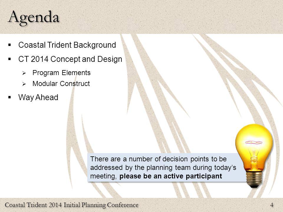 Coastal Trident 2014 Initial Planning Conference 4 Agenda  Coastal Trident Background  CT 2014 Concept and Design  Program Elements  Modular Const