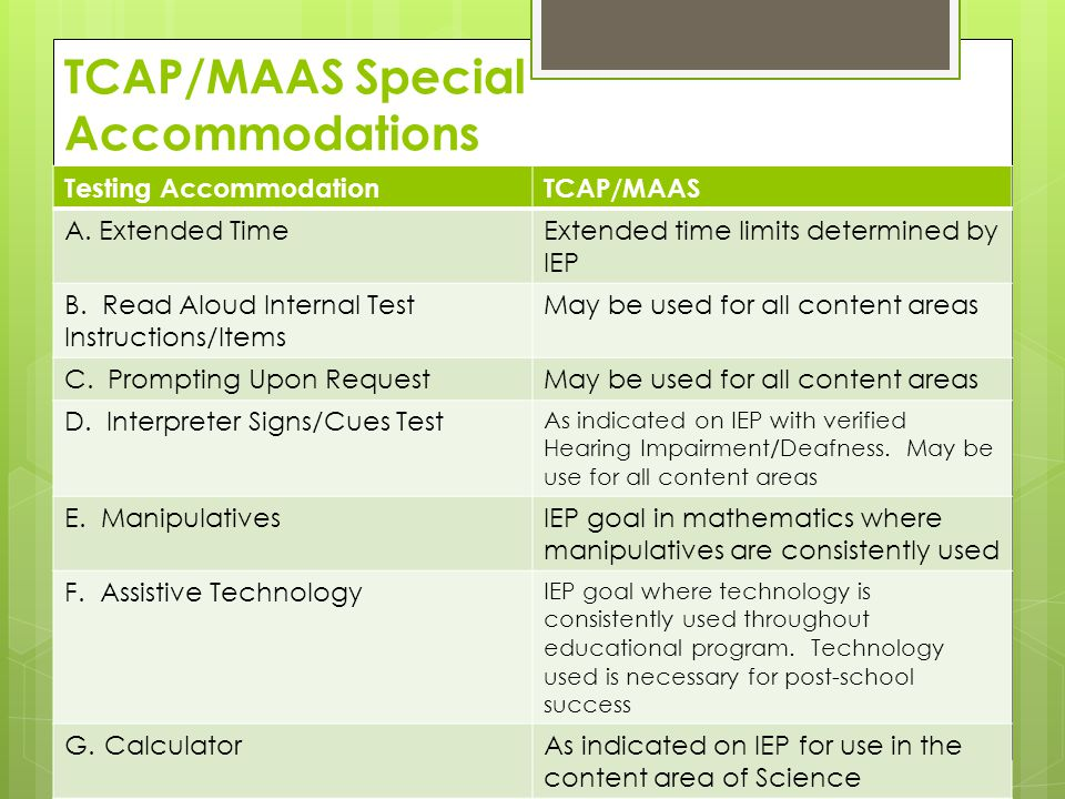 TCAP/MAAS Special Accommodations Testing AccommodationTCAP/MAAS A.