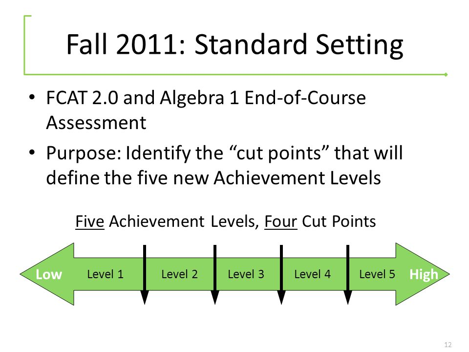 Fall 2011: Standard Setting FCAT 2.0 and Algebra 1 End-of-Course Assessment Purpose: Identify the cut points that will define the five new Achievement Levels 12 Level 1Level 5Level 2Level 3Level 4 LowHigh Five Achievement Levels, Four Cut Points