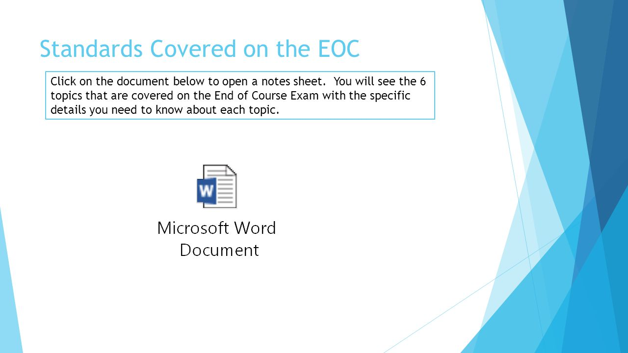 Standards Covered on the EOC Click on the document below to open a notes sheet.