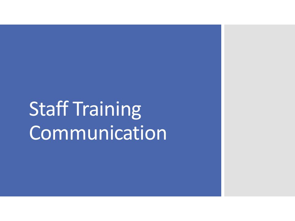 Staff Training Communication
