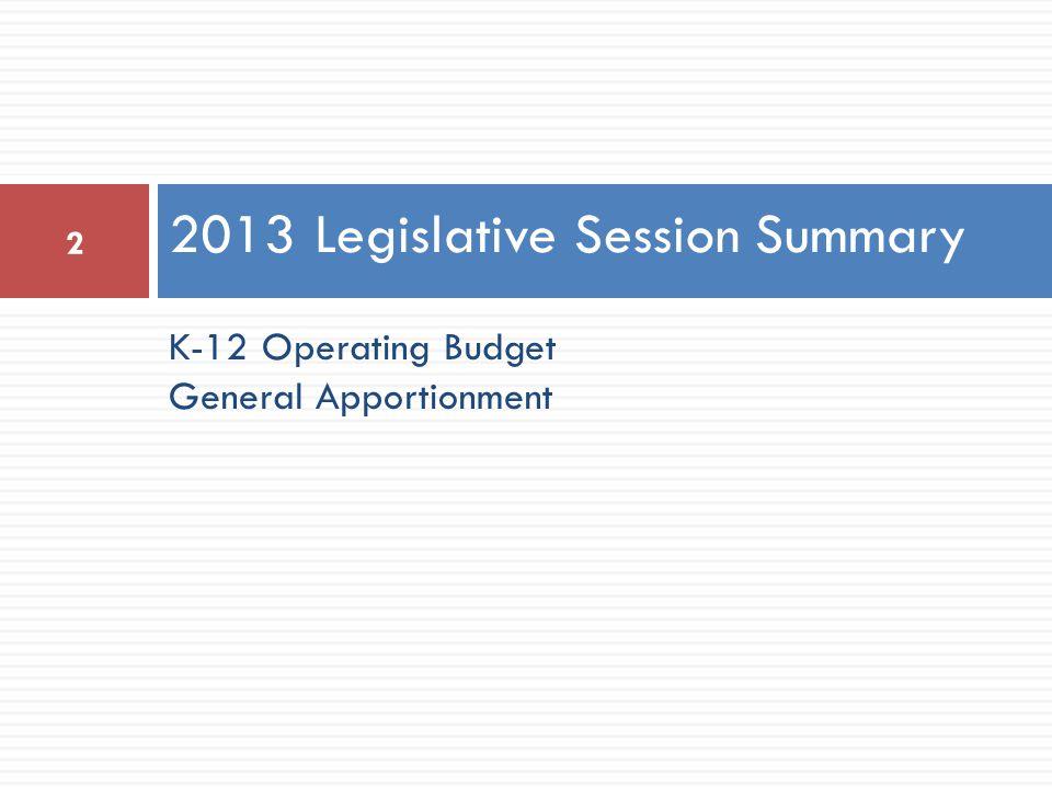 K-12 Operating Budget General Apportionment 2013 Legislative Session Summary 2