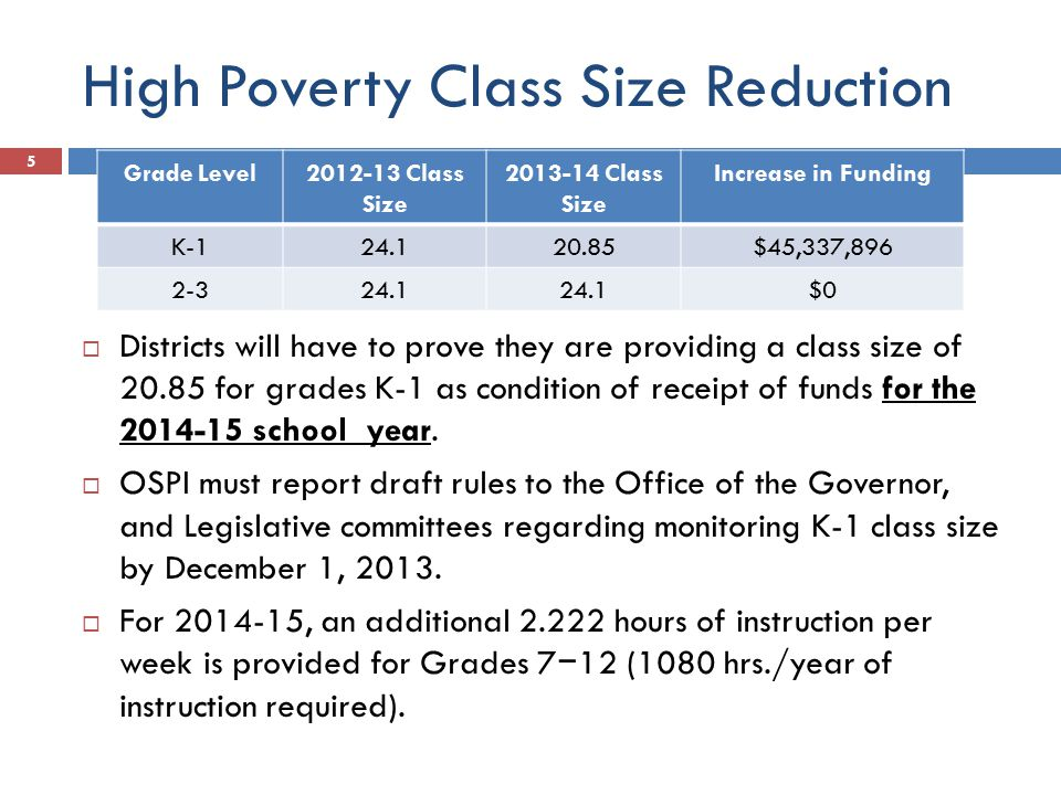 High Poverty Class Size Reduction 5  Districts will have to prove they are providing a class size of 20.85 for grades K-1 as condition of receipt of funds for the 2014-15 school year.