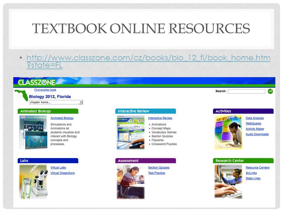 TEXTBOOK ONLINE RESOURCES http://www.classzone.com/cz/books/bio_12_fl/book_home.htm ?state=FL http://www.classzone.com/cz/books/bio_12_fl/book_home.ht