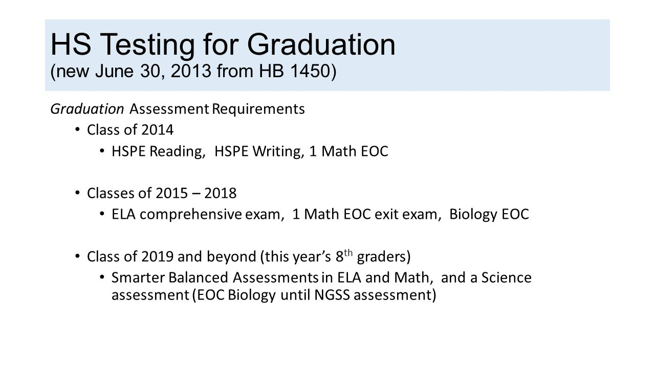 HS Testing for Graduation (new June 30, 2013 from HB 1450) Graduation Assessment Requirements Class of 2014 HSPE Reading, HSPE Writing, 1 Math EOC Classes of 2015 – 2018 ELA comprehensive exam, 1 Math EOC exit exam, Biology EOC Class of 2019 and beyond (this year's 8 th graders) Smarter Balanced Assessments in ELA and Math, and a Science assessment (EOC Biology until NGSS assessment)