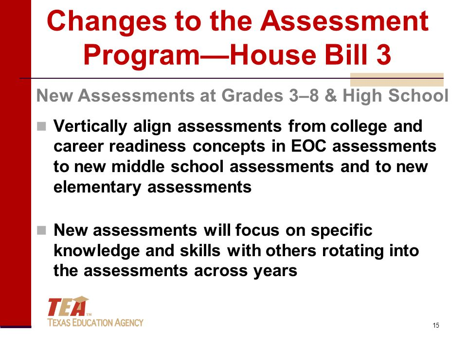Changes to the Assessment Program—House Bill 3 Vertically align assessments from college and career readiness concepts in EOC assessments to new middle school assessments and to new elementary assessments New assessments will focus on specific knowledge and skills with others rotating into the assessments across years New Assessments at Grades 3–8 & High School 15