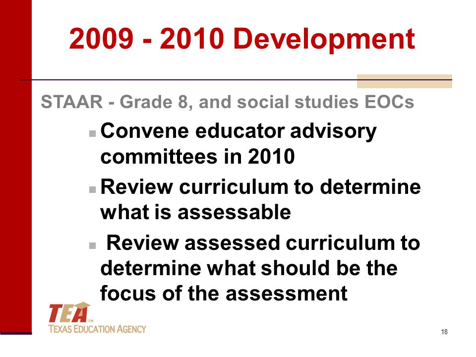 2009 - 2010 Development Convene educator advisory committees in 2010 Review curriculum to determine what is assessable Review assessed curriculum to determine what should be the focus of the assessment STAAR - Grade 8, and social studies EOCs 18