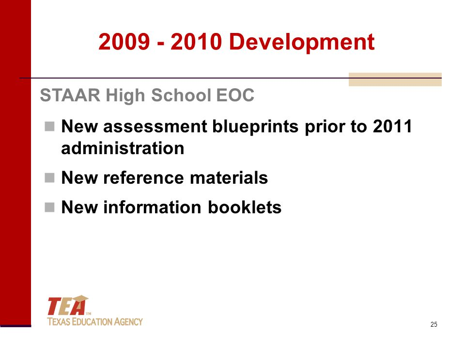 2009 - 2010 Development New assessment blueprints prior to 2011 administration New reference materials New information booklets STAAR High School EOC 25