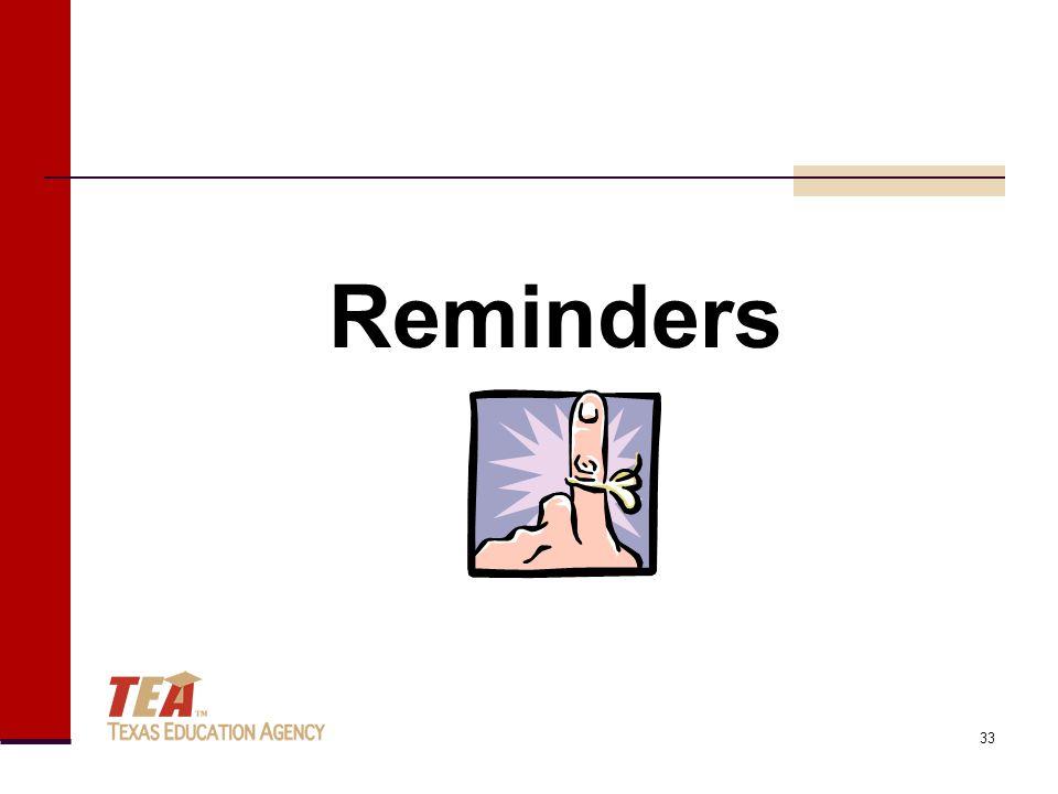 Reminders 33