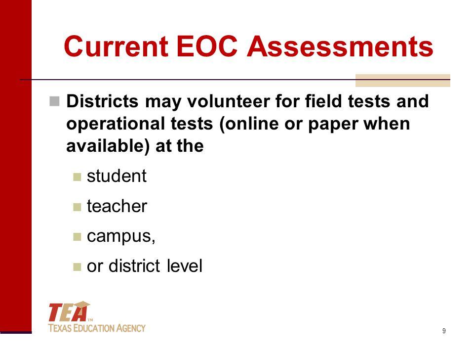 Current EOC Assessments Three week testing window for field tests (May 3–21) English I Algebra II Three week testing window for operational tests (May 10–28) Algebra I and Geometry U.S.