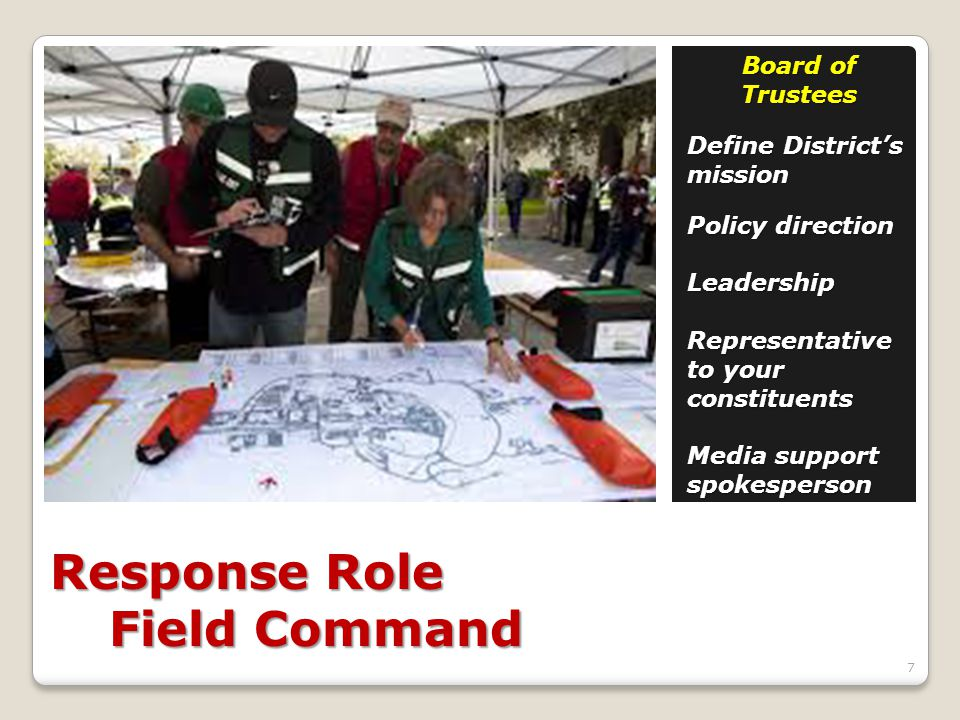 Response Role Field Command Board of Trustees Define District's mission Policy direction Leadership Representative to your constituents Media support