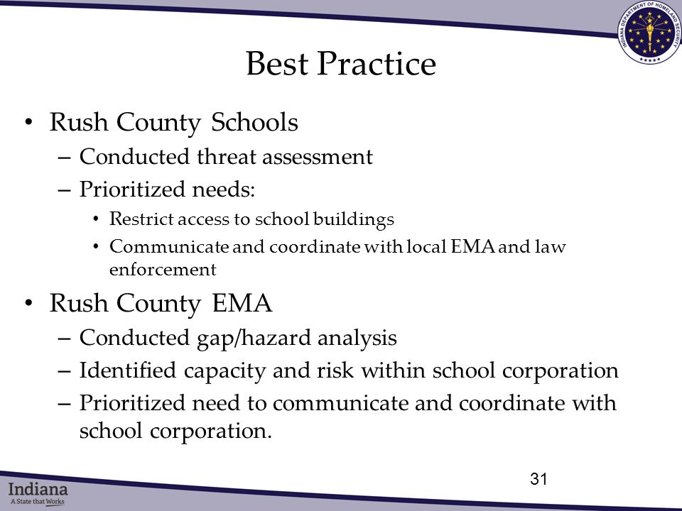 Best Practice Rush County Schools – Conducted threat assessment – Prioritized needs: Restrict access to school buildings Communicate and coordinate with local EMA and law enforcement Rush County EMA – Conducted gap/hazard analysis – Identified capacity and risk within school corporation – Prioritized need to communicate and coordinate with school corporation.