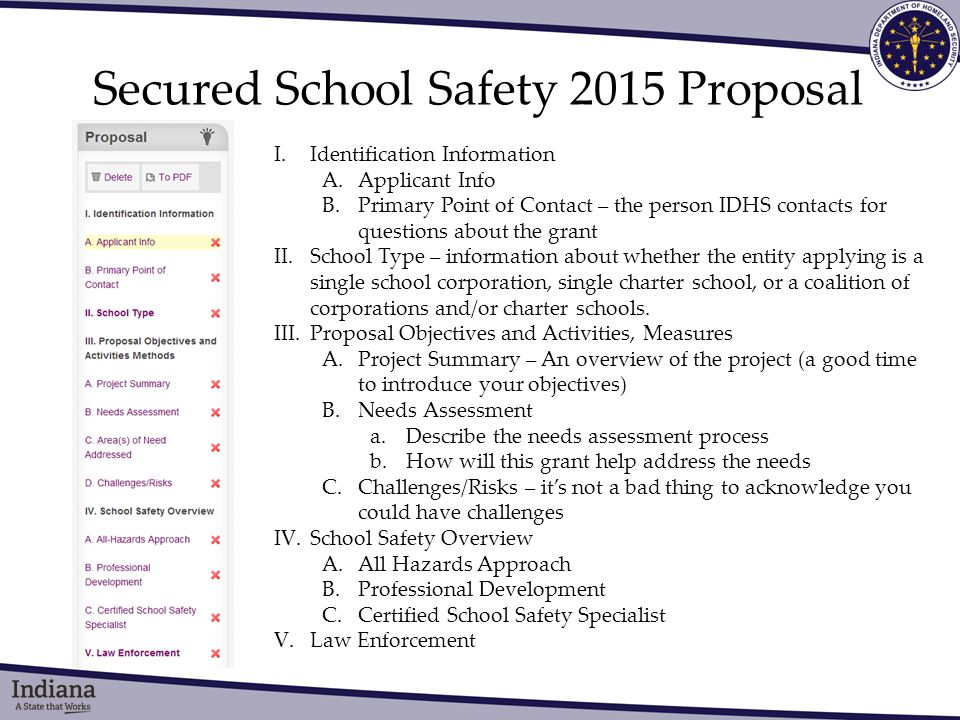 Secured School Safety 2015 Proposal I.Identification Information A.Applicant Info B.Primary Point of Contact – the person IDHS contacts for questions about the grant II.School Type – information about whether the entity applying is a single school corporation, single charter school, or a coalition of corporations and/or charter schools.