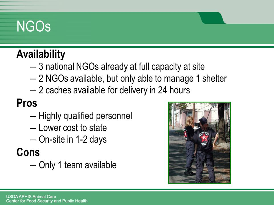 NGOs Availability – 3 national NGOs already at full capacity at site – 2 NGOs available, but only able to manage 1 shelter – 2 caches available for delivery in 24 hours Pros – Highly qualified personnel – Lower cost to state – On-site in 1-2 days Cons – Only 1 team available