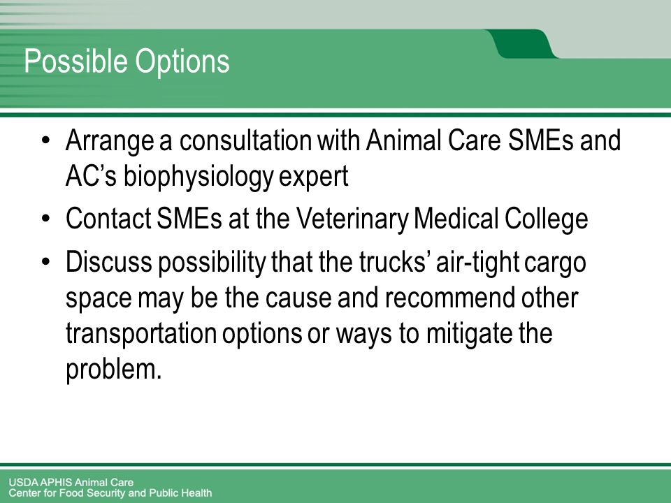 Possible Options Arrange a consultation with Animal Care SMEs and AC's biophysiology expert Contact SMEs at the Veterinary Medical College Discuss possibility that the trucks' air-tight cargo space may be the cause and recommend other transportation options or ways to mitigate the problem.