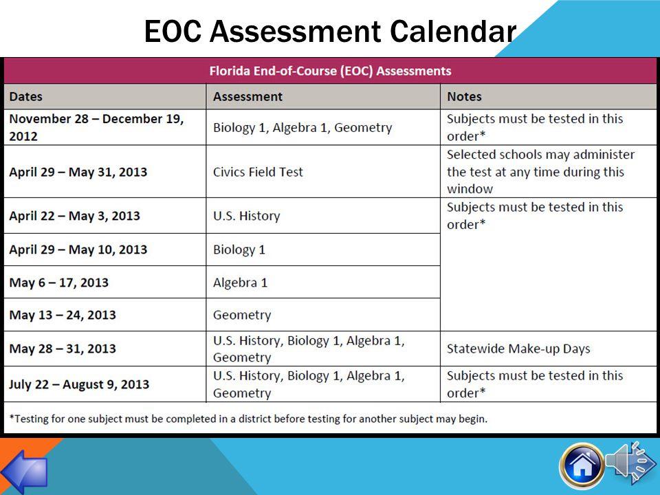 COURSES WITH EOC ASSESSMENTS School YearEOC Exam(s) Administered 2010-2011Algebra 1* 2011-2012Algebra 1, Biology 1*, Geometry* 2012-2013Algebra 1, Biology 1, Geometry, U.S.