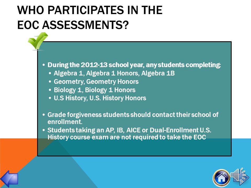 EOC Assessment Calendar