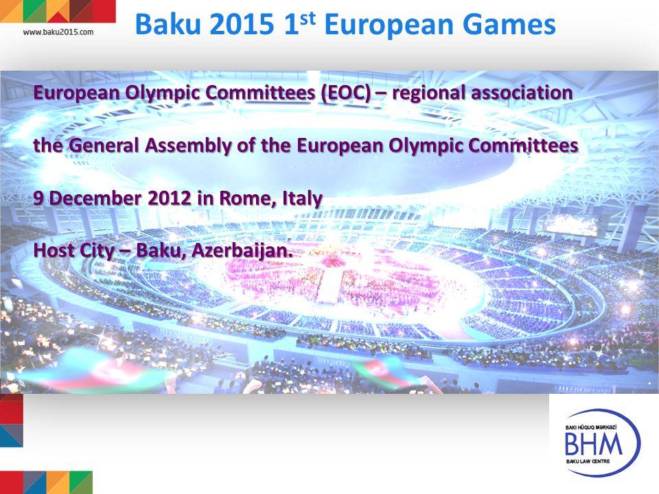 Baku 2015 4 Coordination Committee EOC President, Mr.