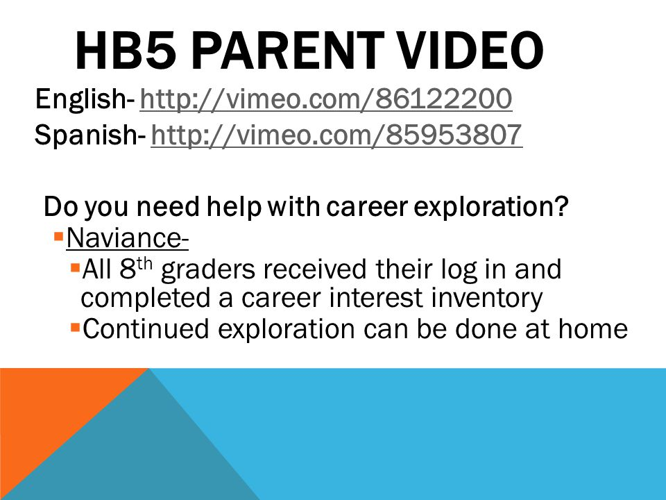 HB5 PARENT VIDEO English- http://vimeo.com/86122200http://vimeo.com/86122200 Spanish- http://vimeo.com/85953807http://vimeo.com/85953807 Do you need h