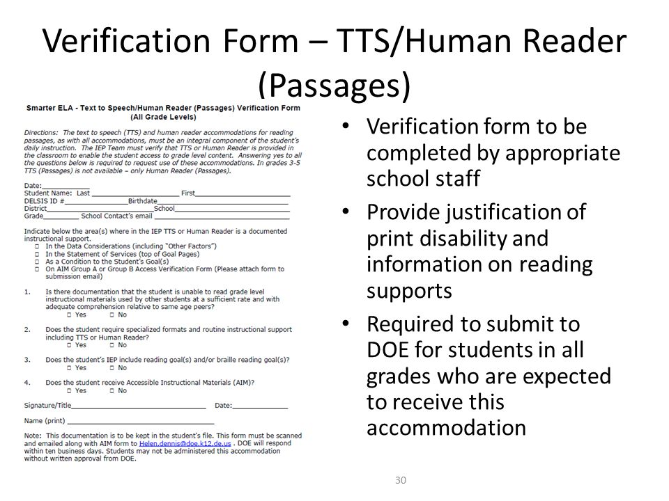 Verification form to be completed by appropriate school staff Provide justification of print disability and information on reading supports Required to submit to DOE for students in all grades who are expected to receive this accommodation 30 Verification Form – TTS/Human Reader (Passages) Need new screen shot of final form