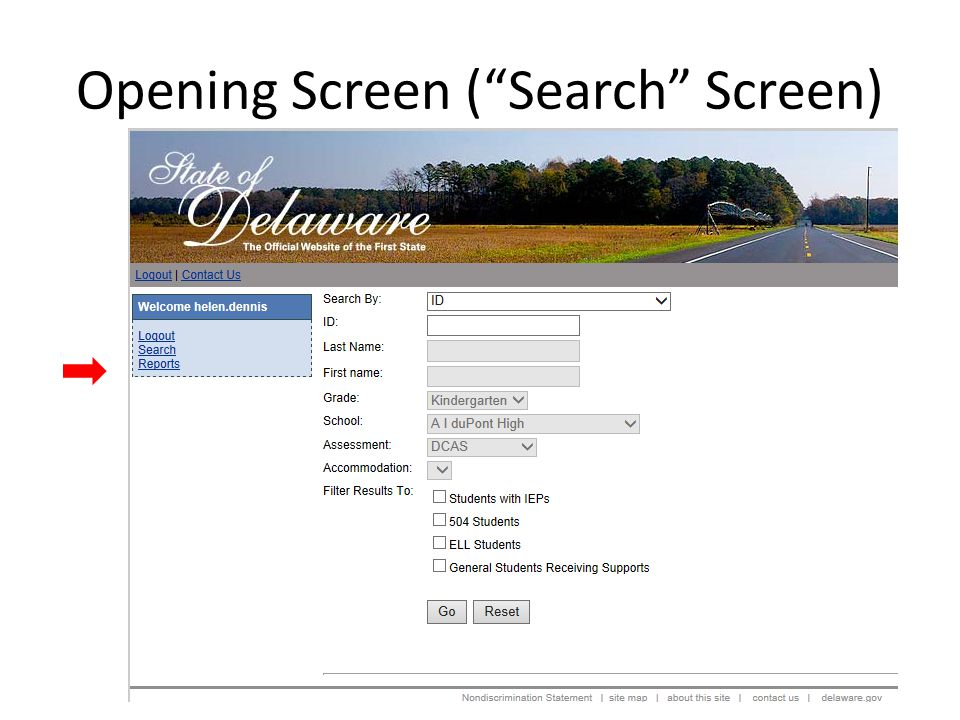 Opening Screen ( Search Screen)  Students with IEP's