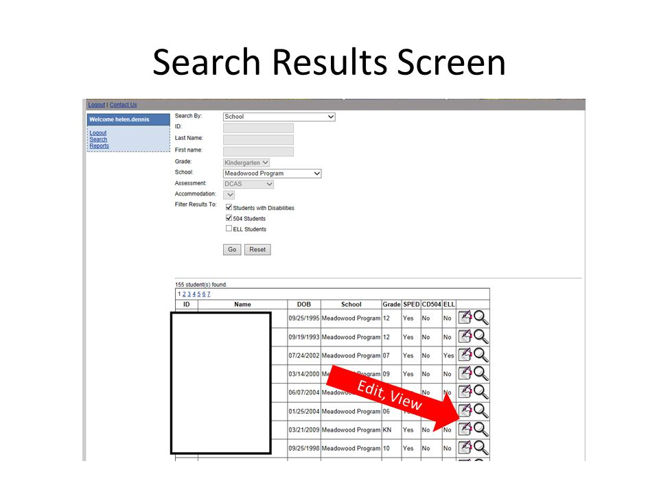 Search Results Screen Edit, View