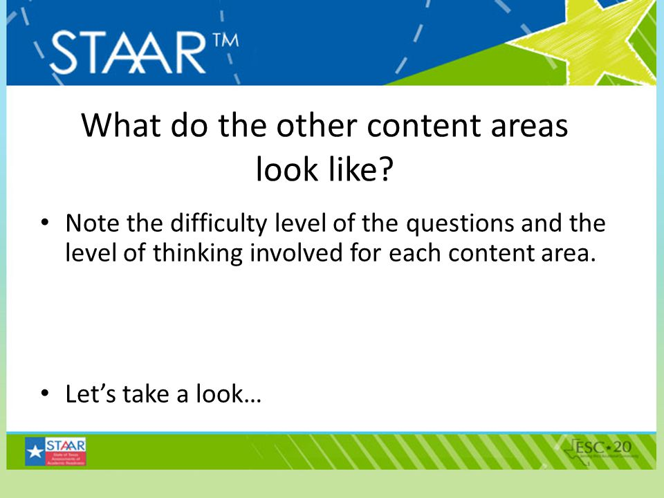 What do the other content areas look like? Note the difficulty level of the questions and the level of thinking involved for each content area. Let's
