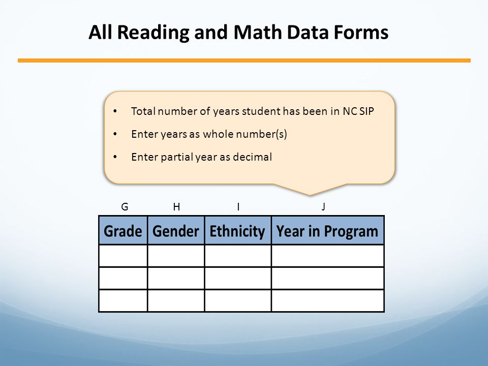 GHIJGHIJ All Reading and Math Data Forms Total number of years student has been in NC SIP Enter years as whole number(s) Enter partial year as decimal