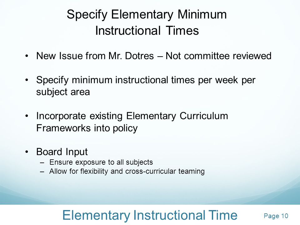 Elementary Instructional Time Specify Elementary Minimum Instructional Times New Issue from Mr.