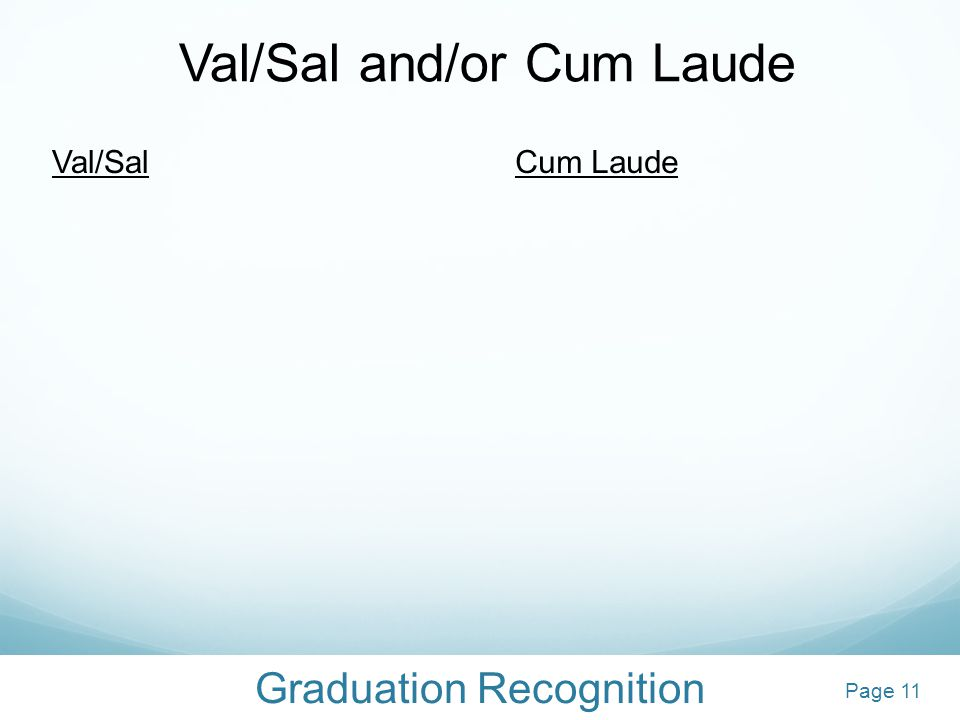 Graduation Recognition Val/Sal and/or Cum Laude Val/SalCum Laude 12Page 11