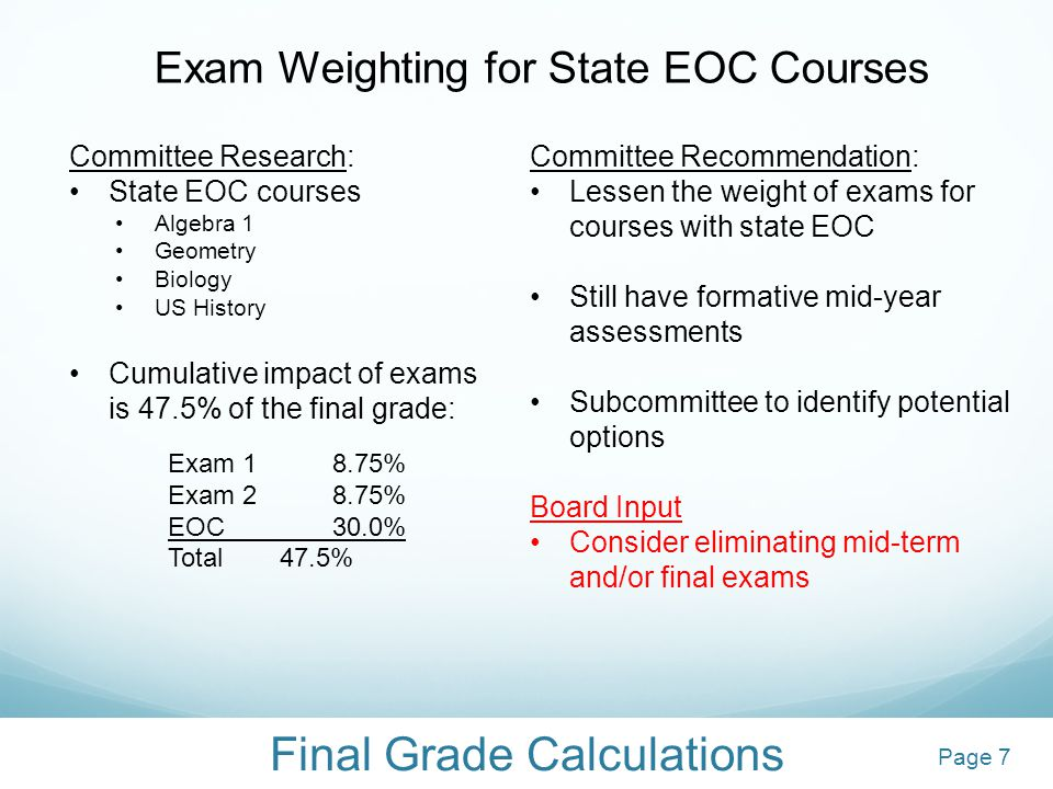 Final Grade Calculations Exam Weighting for State EOC Courses Committee Research: State EOC courses Algebra 1 Geometry Biology US History Cumulative i