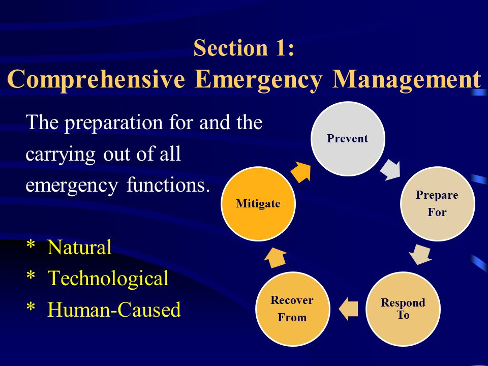 Section 1: Comprehensive Emergency Management The preparation for and the carrying out of all emergency functions.