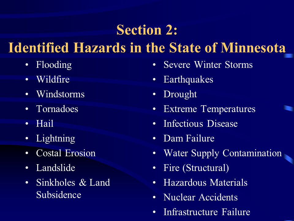 Section 2: Identified Hazards in the State of Minnesota Flooding Wildfire Windstorms Tornadoes Hail Lightning Costal Erosion Landslide Sinkholes & Land Subsidence Severe Winter Storms Earthquakes Drought Extreme Temperatures Infectious Disease Dam Failure Water Supply Contamination Fire (Structural) Hazardous Materials Nuclear Accidents Infrastructure Failure