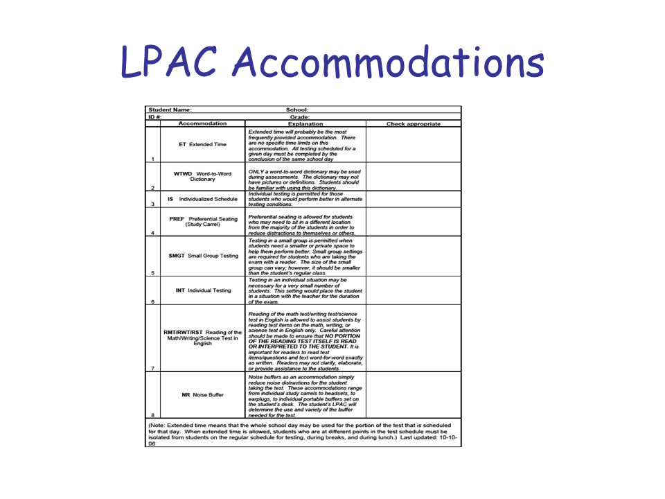 LPAC Accommodations