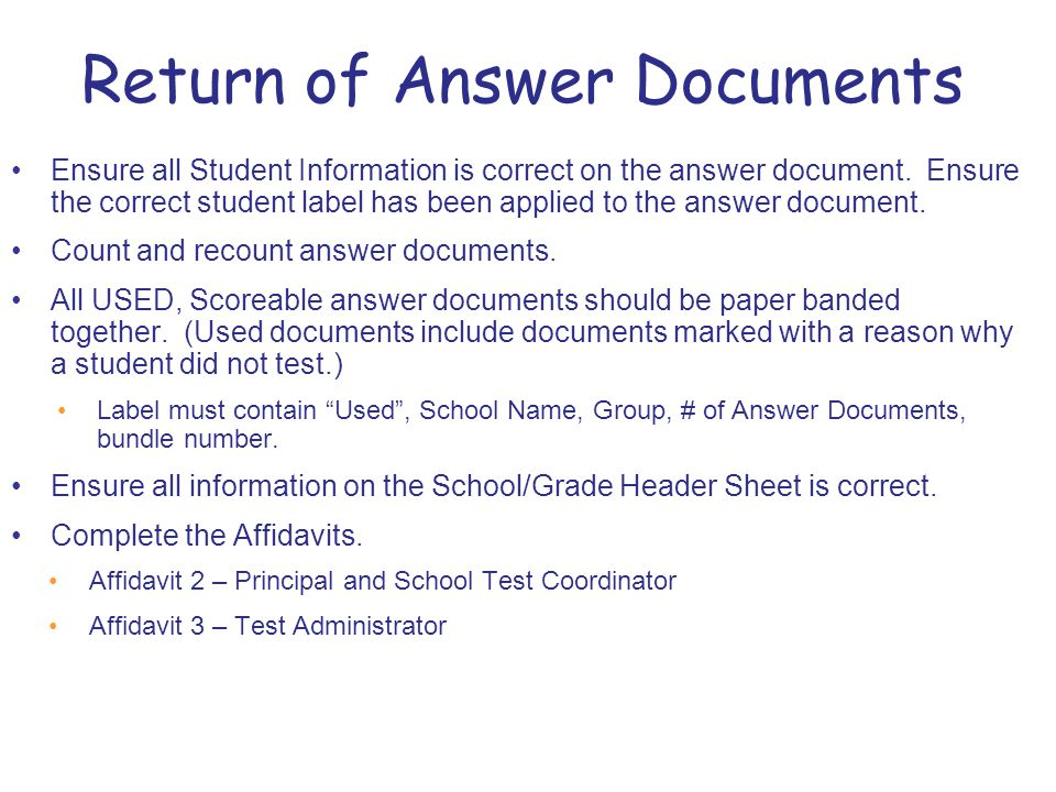 Ensure all Student Information is correct on the answer document.