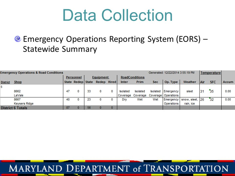 Data Collection Emergency Operations Reporting System (EORS) – Statewide Summary