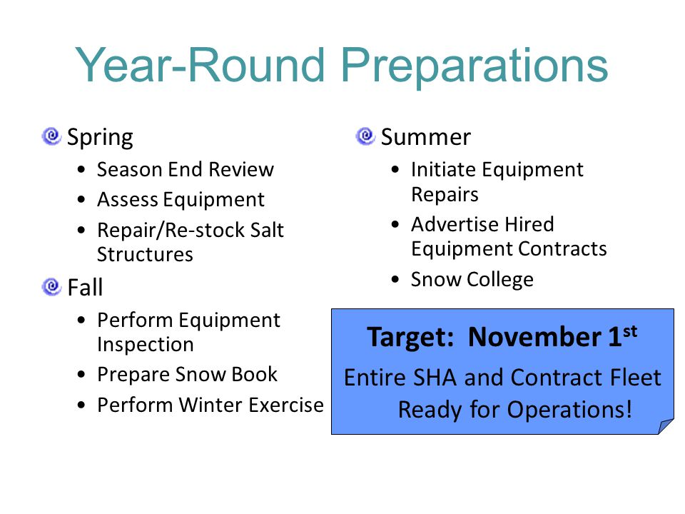 Year-Round Preparations Spring Season End Review Assess Equipment Repair/Re-stock Salt Structures Fall Perform Equipment Inspection Prepare Snow Book